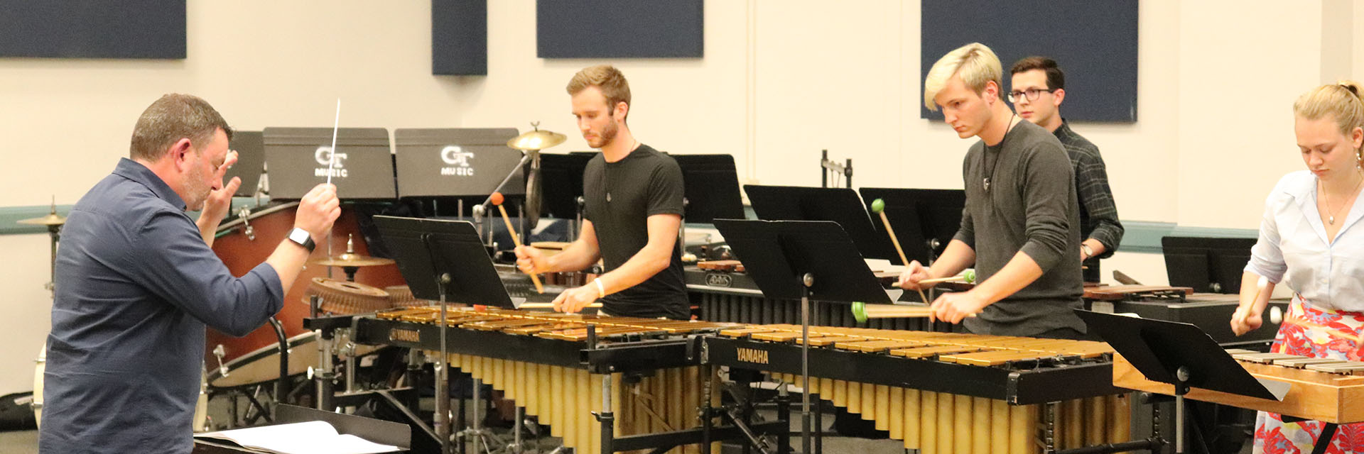 The Percussion Ensemble performs in concert.
