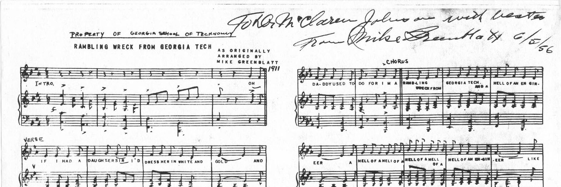 Sheet music of Georgia Tech's Fight Song, Ramblin' Wreck, as it was originally composed.
