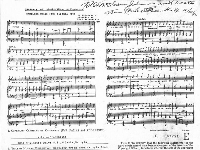 "Vintage sheet music to Georgia Tech's Fight Song, ""Ramblin Wreck""."