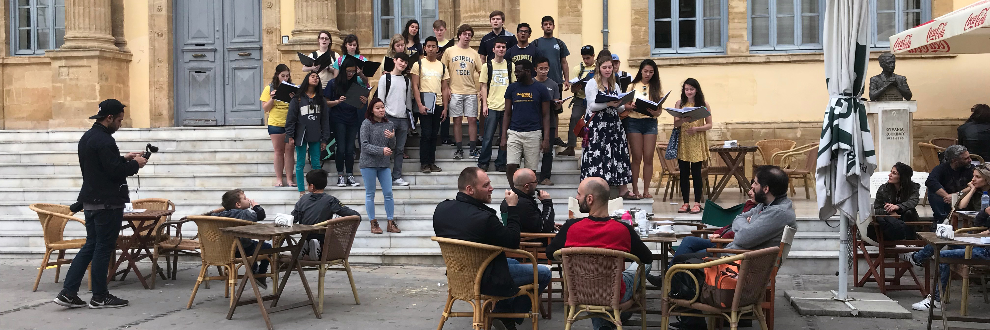 The Chamber Choir performs in a pop-up concert on the streets Nicosia, the capital city of Cyprus.