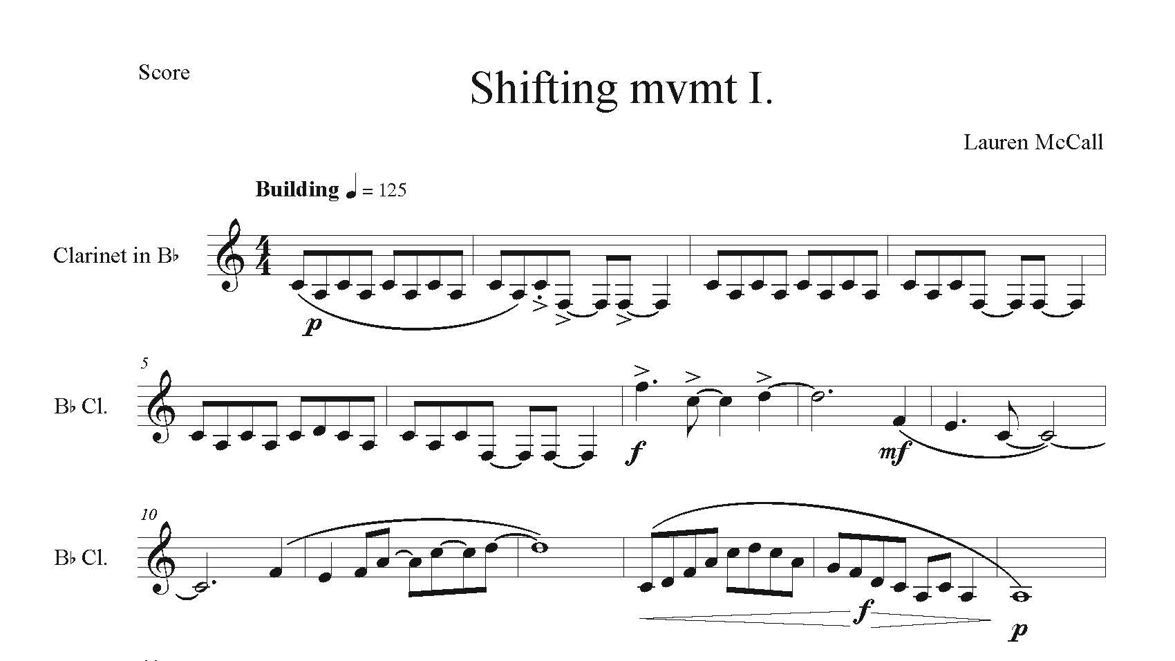 The top of the sheet music for Shifting.