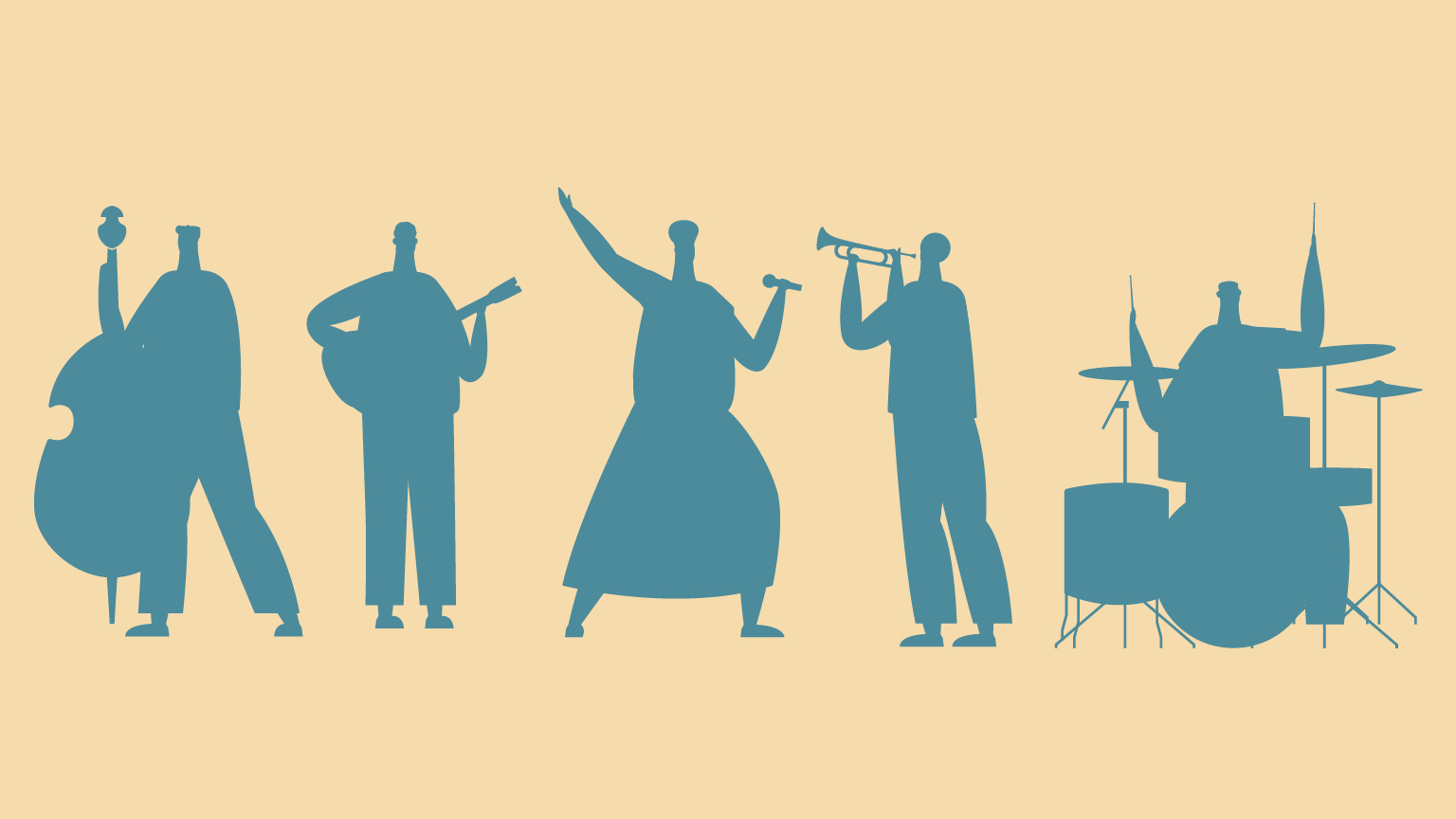 Illustration of silhouettes playing musical instruments.